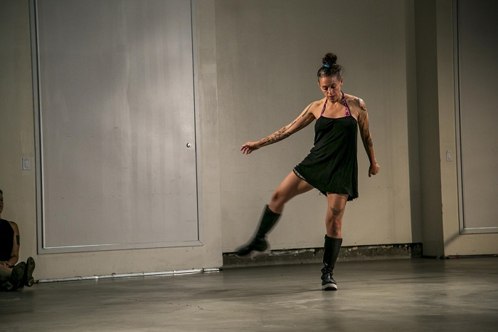 """Performance view, """"Made in L.A. 2014"""" at Hammer Museum, Los Angeles, 2014.  Pictured: Julie Tolentino."""