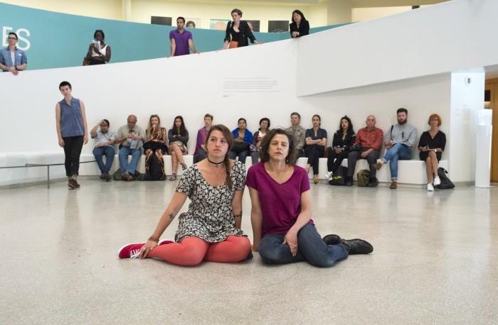 Performance view, Solomon R. Guggenheim Museum, New York, NY, June, 2015.  Pictured: Anna Vomáčka and Lissy Vomáčka.  Photo: Zacry Spears.
